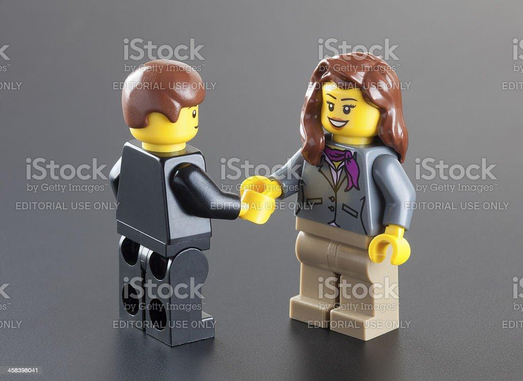Business meeting of Lego minifigures stock photo