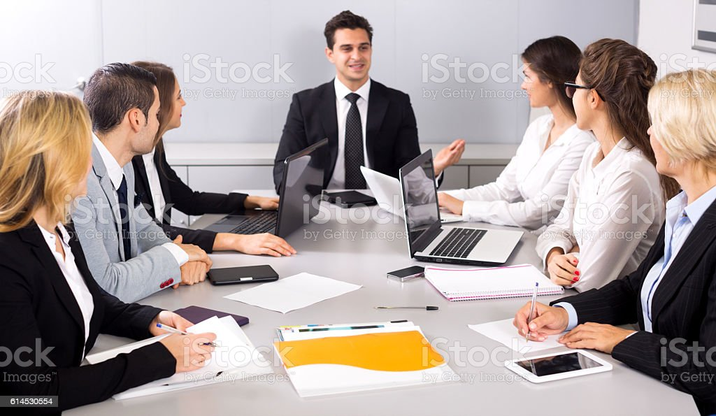 Business meeting of multinational managing team stock photo
