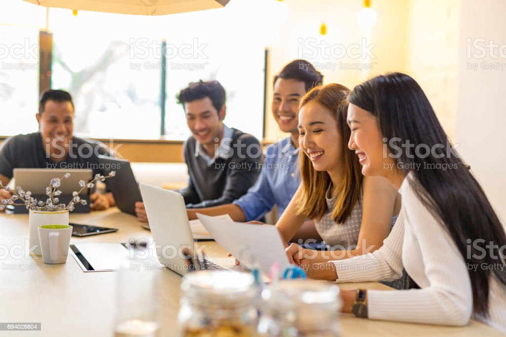 Business Meeting of Young Asian Start Up Entrepreneurs stock photo