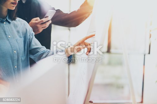 533699494istockphoto Business meeting office, photo woman showing chart board. Photo account 528583224