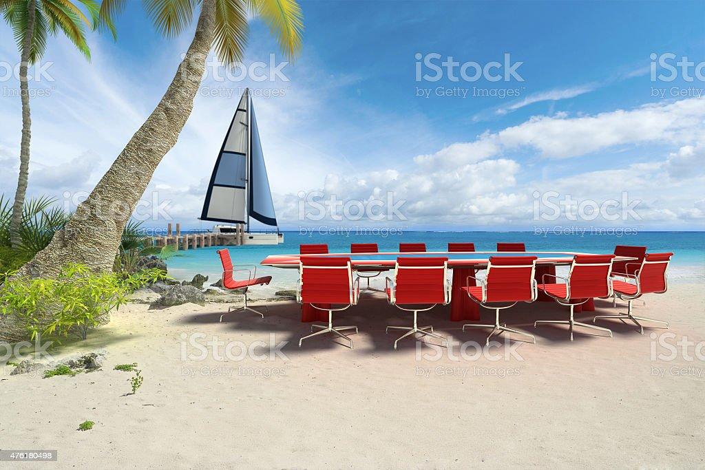 Réunion d'affaires au bord de la plage - Photo