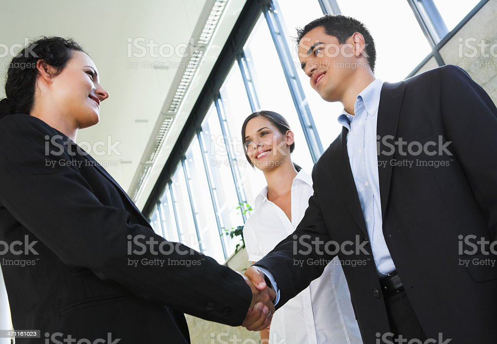 Business meeting on the street. stock photo