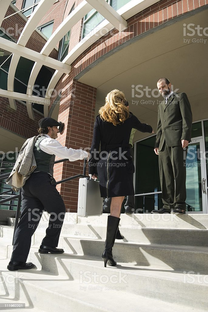 Business meeting outside of an office building stock photo