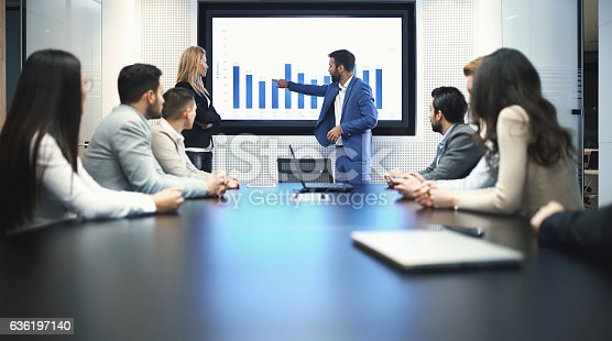 Closeup of group of business people in a meeting seated around squared office desk. Several people are seated around conference table and two people are having a presentation in front of a projection screen.