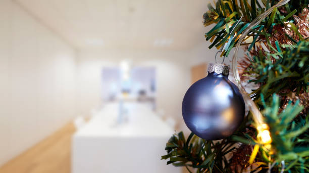 Business meeting room in office and Merry Christmas tree stock photo