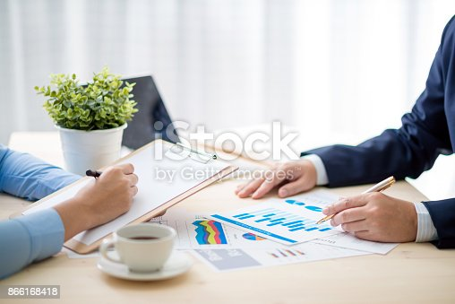 istock Business meeting time. Idea presentation, analyze plans.business concept. 866168418