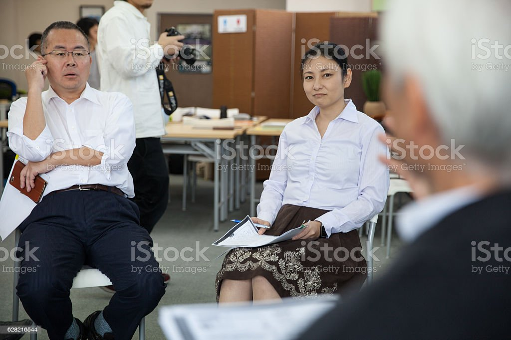 Business meeting, training, class in Japan stock photo