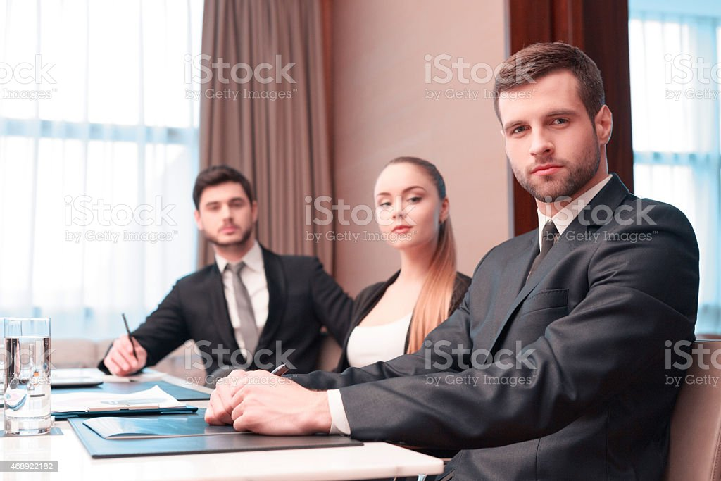 Business meeting with colleagues stock photo