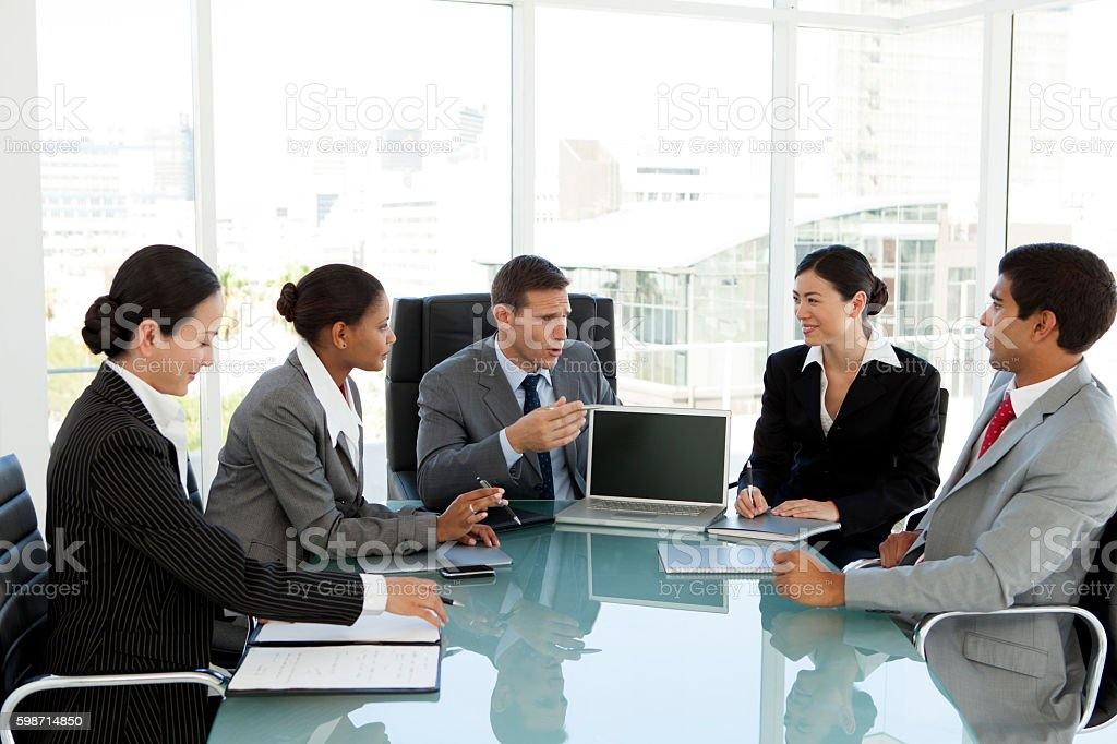 Business meeting with multi-ethnic managers stock photo