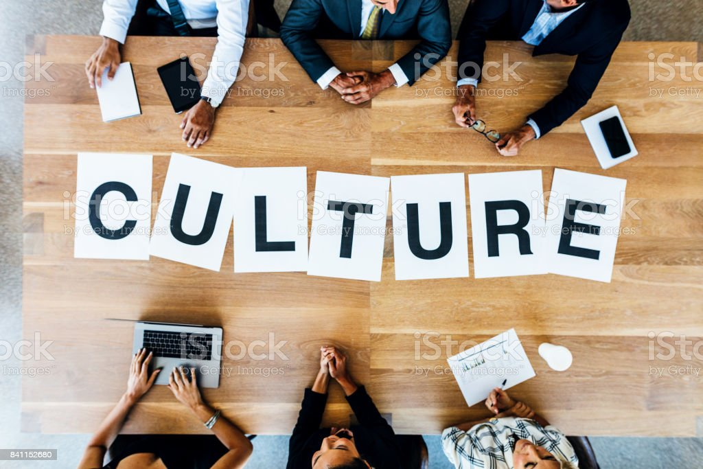 Business meeting with word Culture on table stock photo