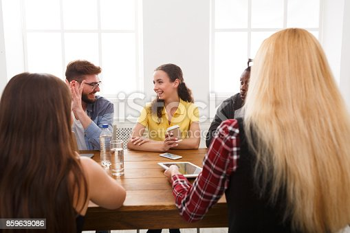 487670635istockphoto Business meeting. Young team in modern office 859639086