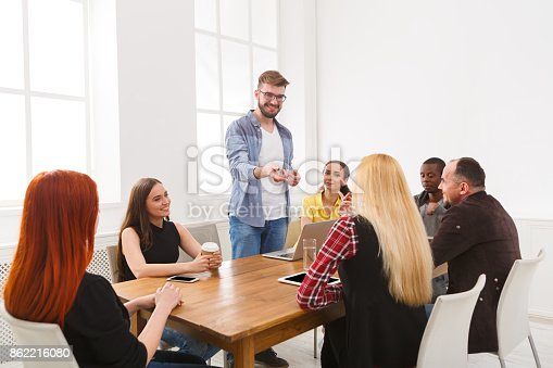 487670635istockphoto Business meeting. Young team in modern office 862216080