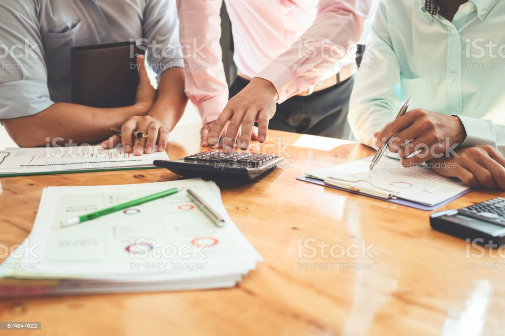 Business meetings with government and private borrowers with co-workers and a tax advisor to assign roles of employees in the organization of each agency. stock photo