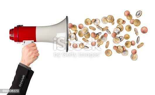 690508154 istock photo business megaphone money rain concept 690508320