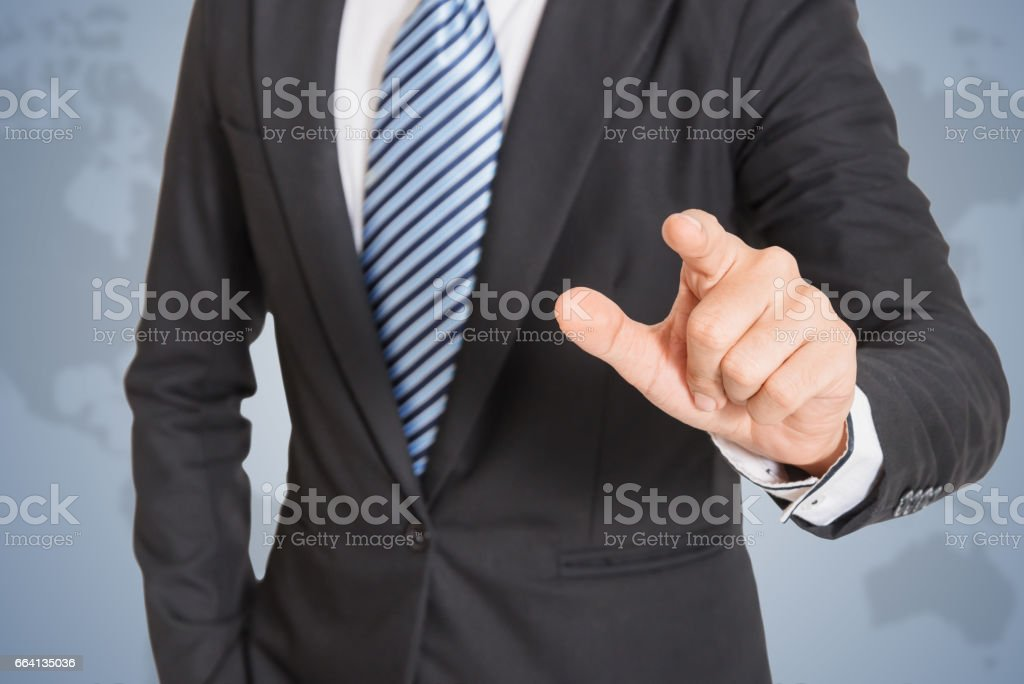 Business men hand pushing foto stock royalty-free