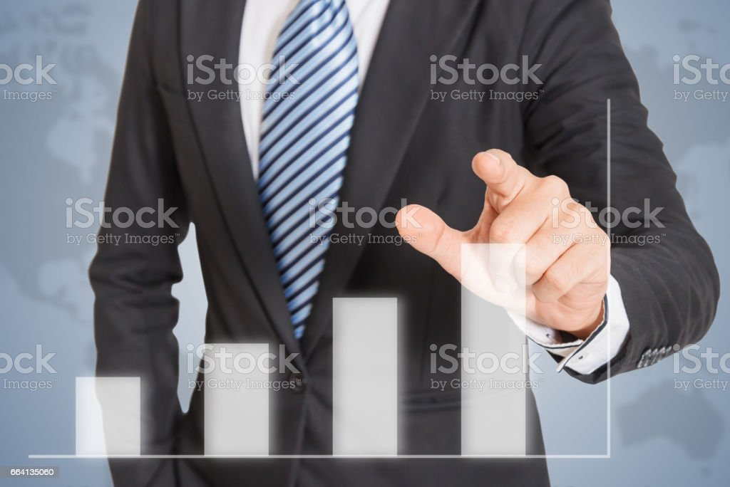 Business men hand pushing write graph foto stock royalty-free