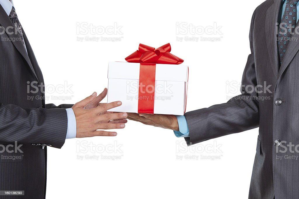 Business men hands gift box royalty-free stock photo