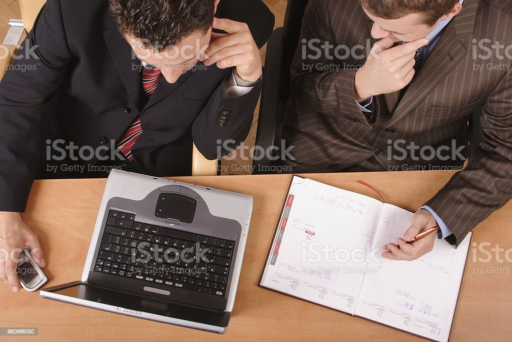 business men  planning with laptop and calender no. 3 royalty-free stock photo