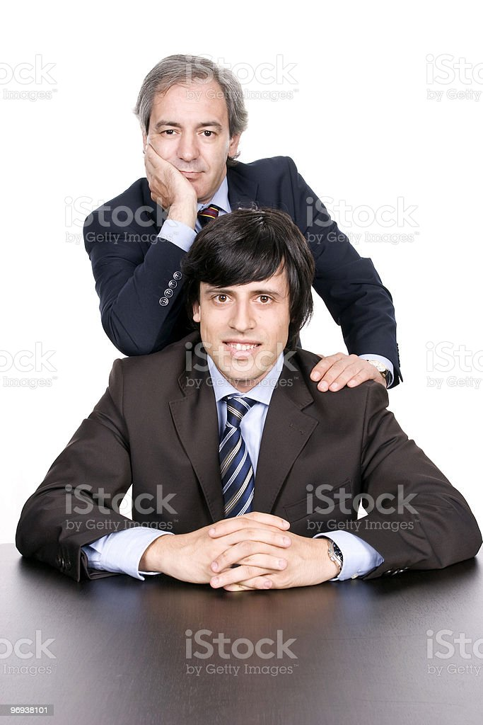 Business men portrait, father and son stock photo