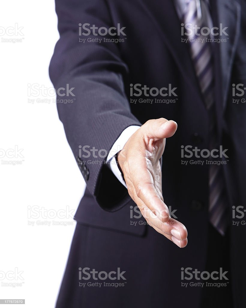 business men shaking hands with you royalty-free stock photo