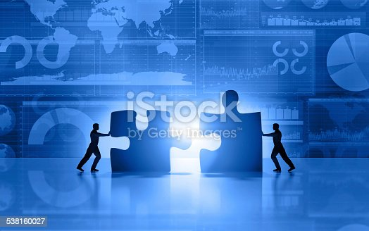 istock Business men teamwork joining puzzle on blue background 538160027