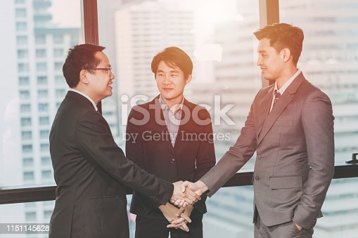 Business Middleman,Project Done with Connection Agent Man Concept,Three Business man Shake hands