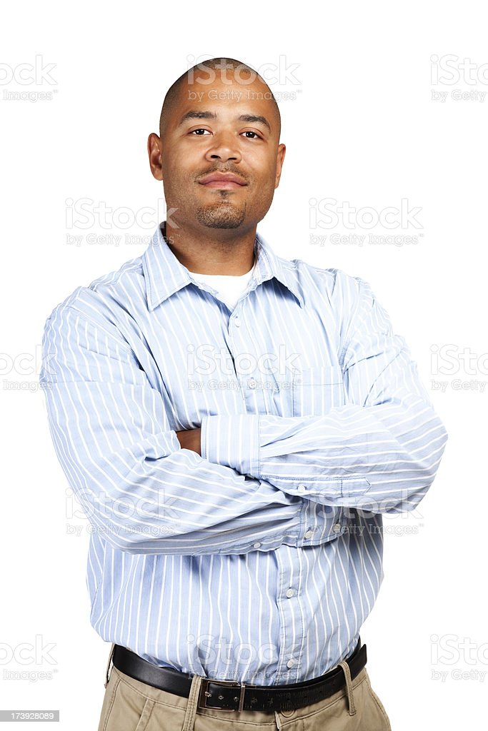Business Mixed race attractive black Man casual attire confident isolated royalty-free stock photo