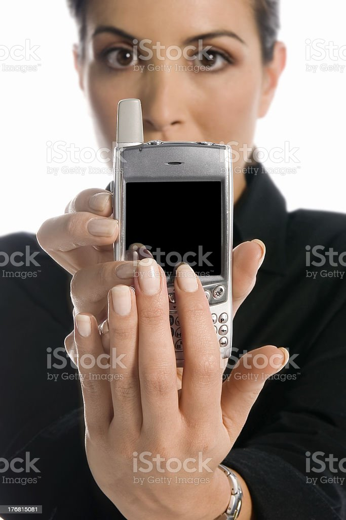 Business: mobile presentation - add your own message. stock photo