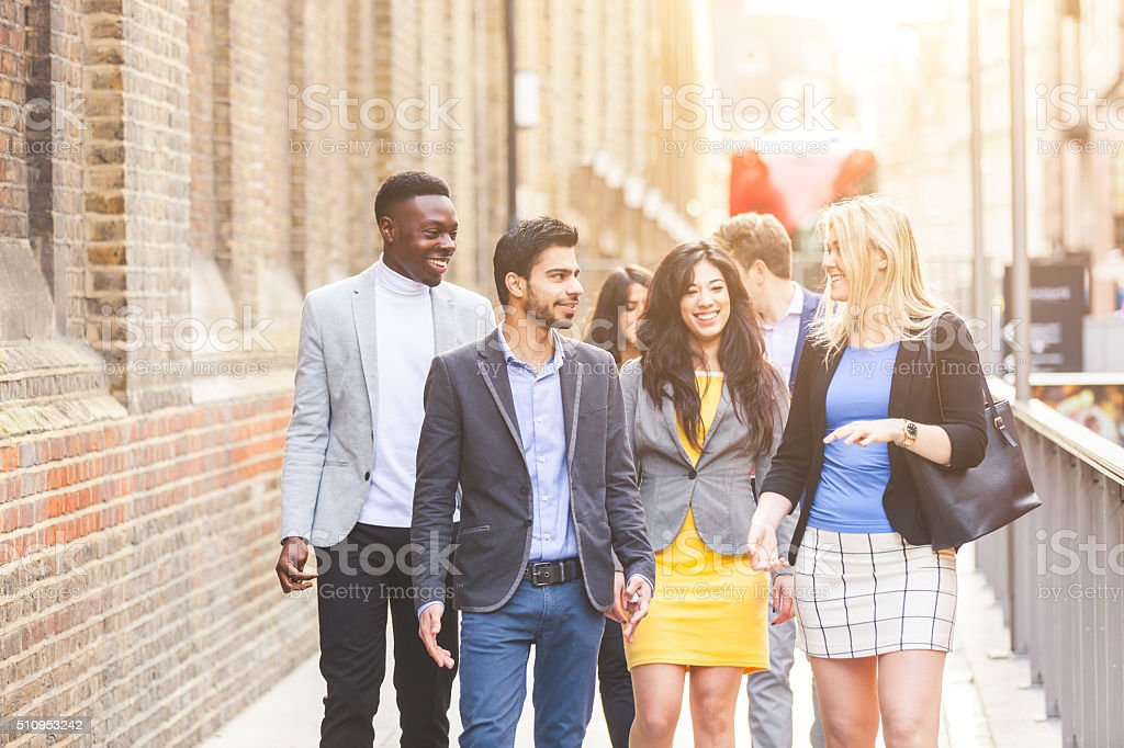 Business multiracial group walking in London stock photo
