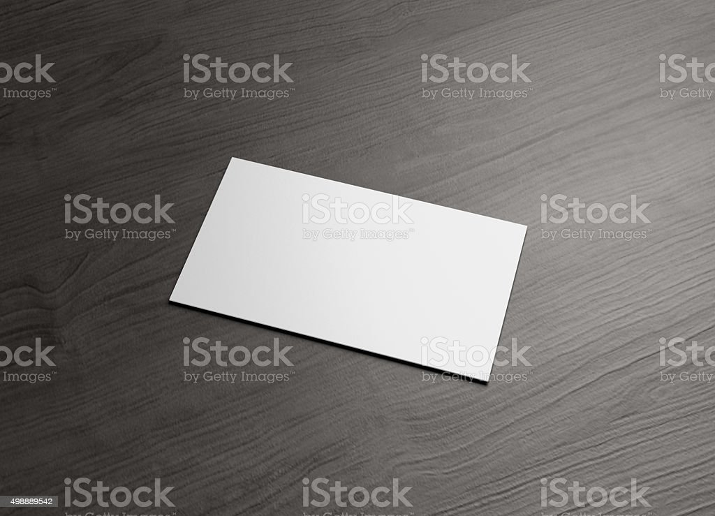 business name card horizontal Right wood table stock photo