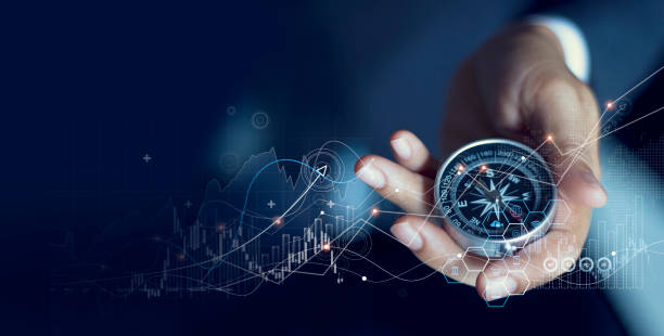Business navigate recovery, Abstract, The compass navigate for businessmen to resume business growth in the economic crisis, Rethink, Reinvent and Recover stock photo