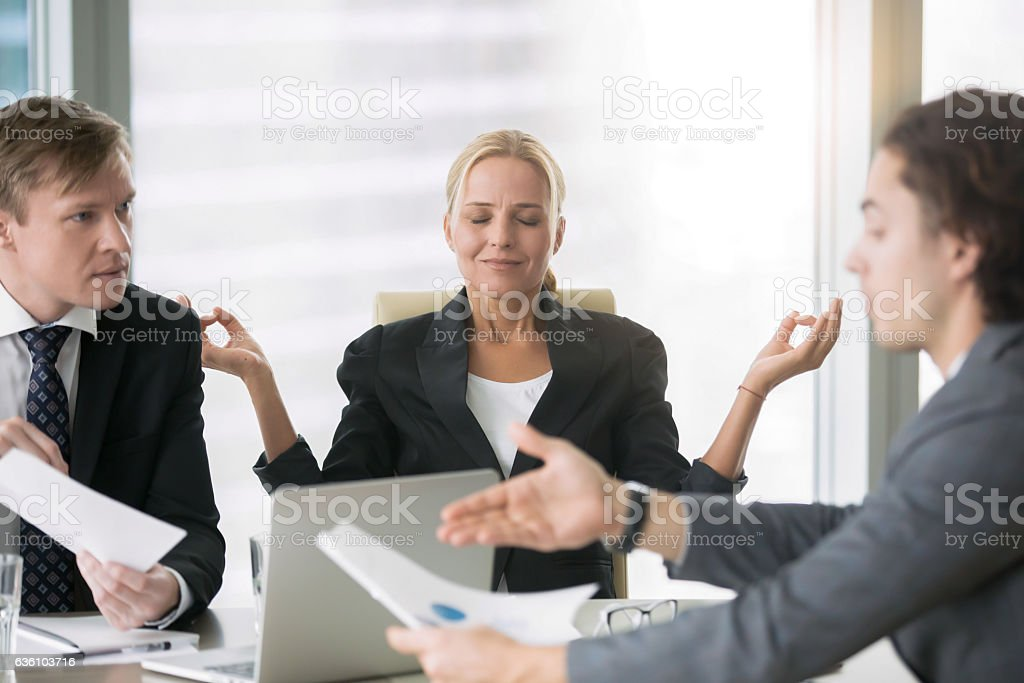 Business negotiation, men arguing, woman meditating stok fotoğrafı