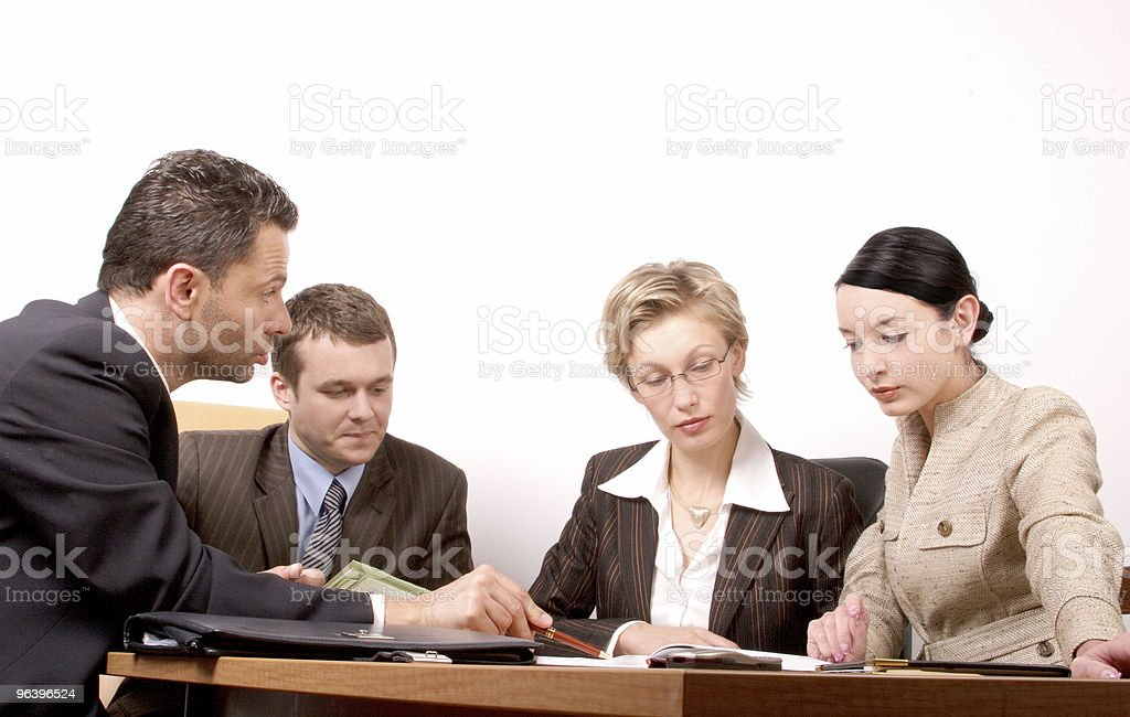 Business negotiations  - two men 2 women royalty-free stock photo