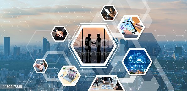 istock Business network concept. Communication of business. 1180547389