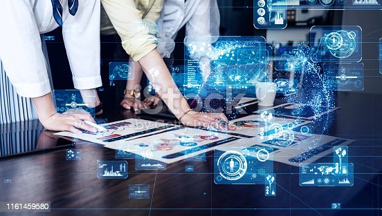 istock Business network concept. Group of businessperson in office. 1161459580