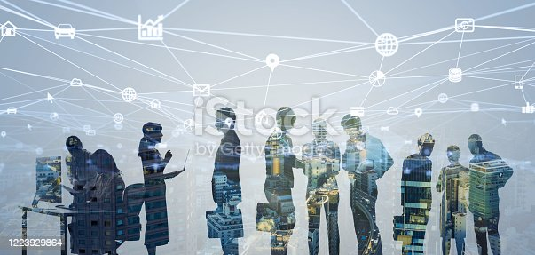 istock Business network concept. Group of businessperson. Teamwork. Human resources. 1223929864