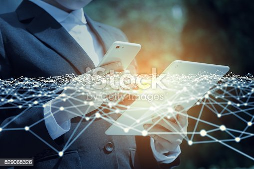 istock business network concept. mobile communication technology. 3D rendering. abstract image visual. 829068326
