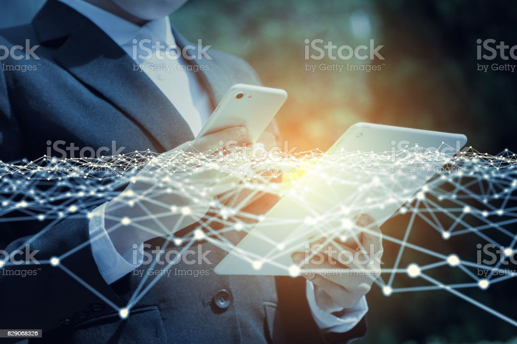 business network concept. mobile communication technology. 3D rendering. abstract image visual. stock photo
