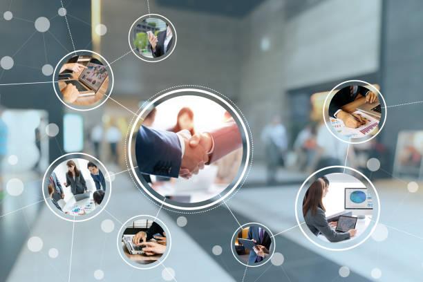 koncepcja sieci biznesowej. - sieć komputerowa zdjęcia i obrazy z banku zdjęć