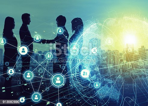istock Business network concept. Social networking. Crowd sourcing. 913582690