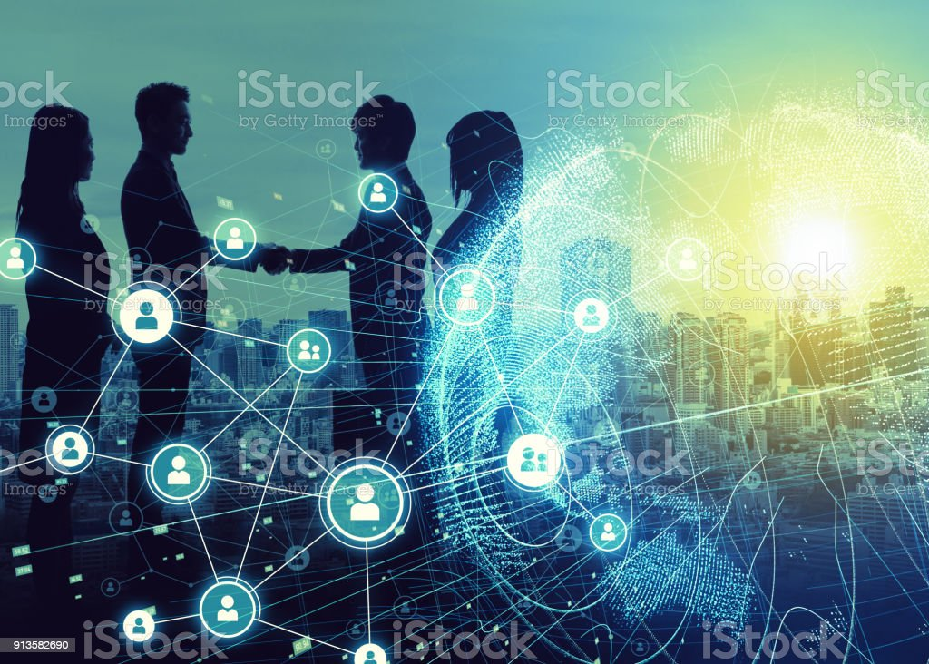 Business network concept. Social networking. Crowd sourcing. stock photo