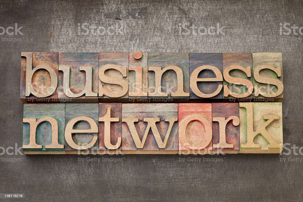 business network in wood type royalty-free stock photo