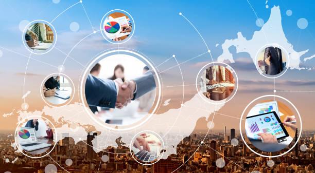 business network of japan. communication network. - политика и правительство стоковые фото и изображения