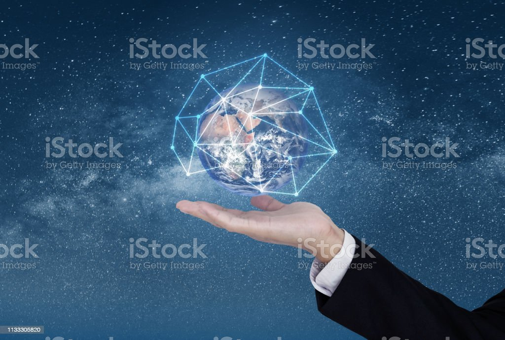 Business networking and blockchain business and technology. Hand...