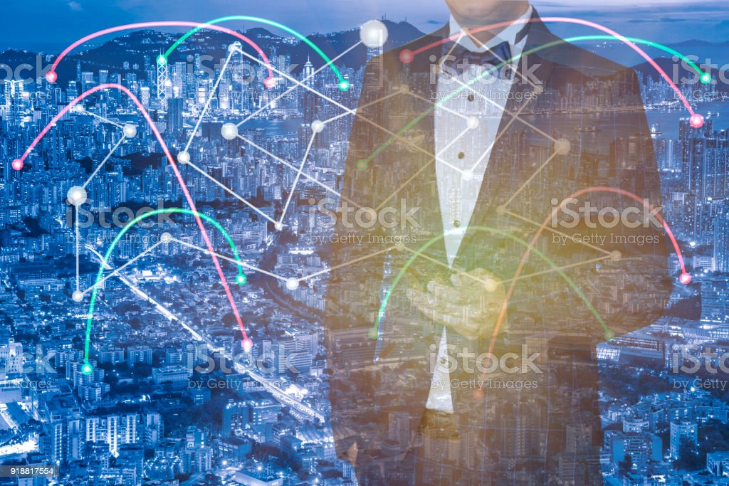 Business networking connection concept and Wi-Fi in city.Technology...
