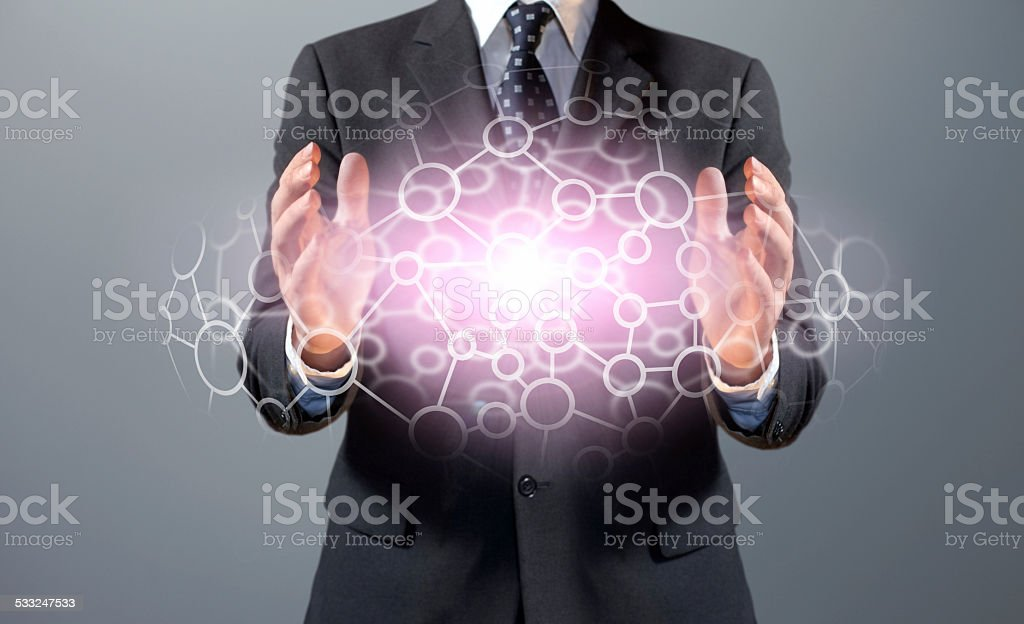 Business networking: manager creates connections stock photo