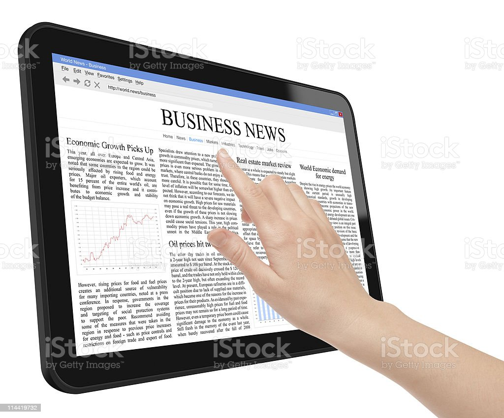 Business News Concept on Tablet PC royalty-free stock photo