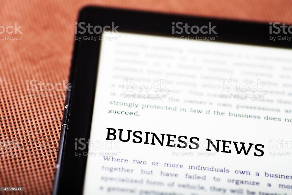 Business news on ebook, tablet concept royalty-free stock photo