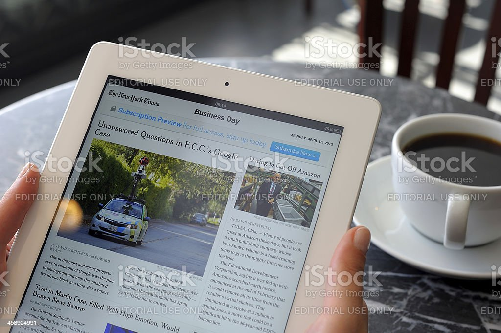 Business news on iPad 3 royalty-free stock photo
