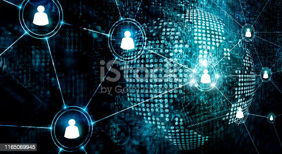 914788012 istock photo Business of global structure networking and data exchanges customer connection on dark background 1165069945
